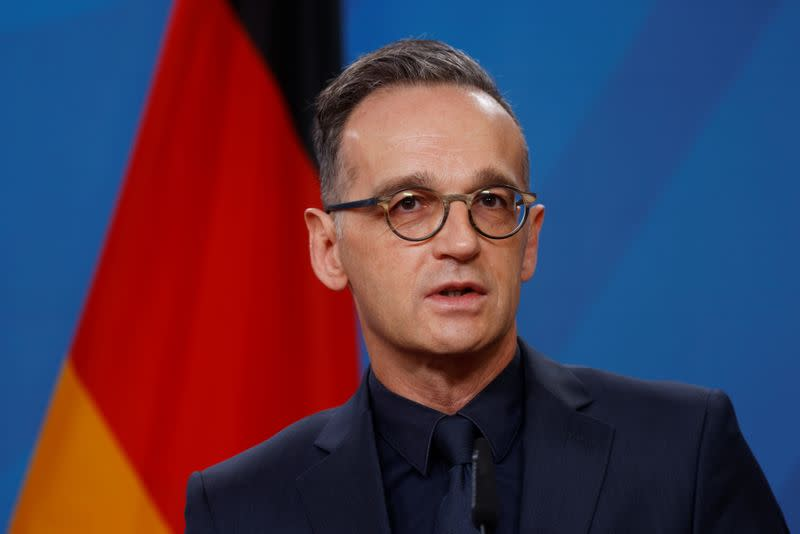 Germany's Foreign Minister Heiko Maas and Kosovo's Foreign Minister Meliza Haradinaj Stublla hold a news conference in Berlin