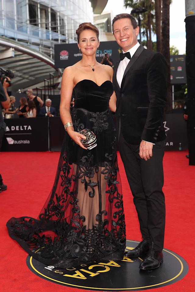 <p>Making an effort to match, Rove McManus and wife Tasma Walton were looking loved up as they posed for photos.</p>