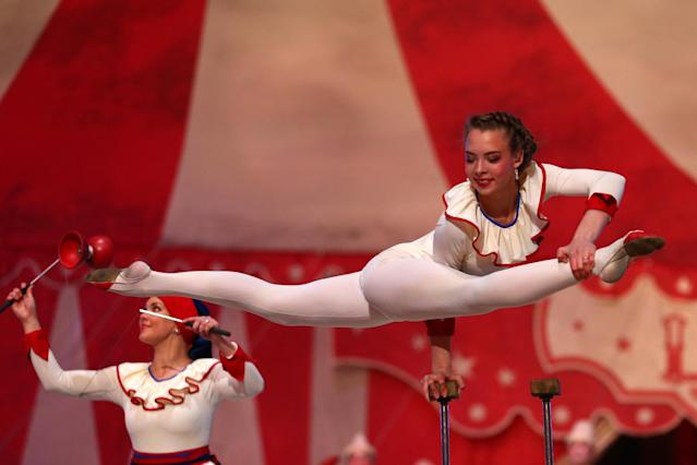 SOCHI, RUSSIA - FEBRUARY 23: The magic of circus is performed during the 2014 Sochi Winter Olympics Closing Ceremony at Fisht Olympic Stadium on February 23, 2014 in Sochi, Russia. (Photo by Ryan Pierse/Getty Images)