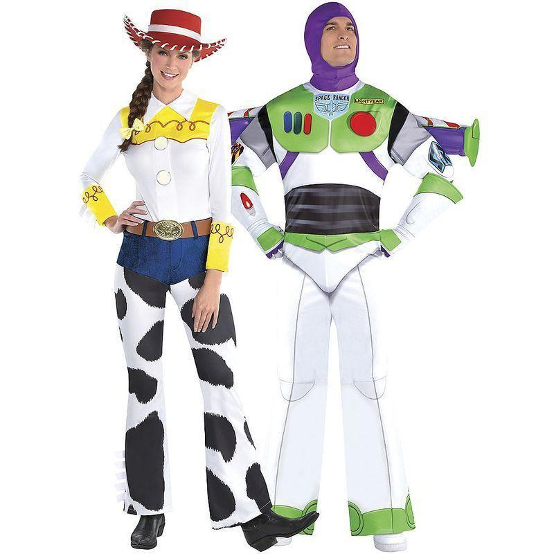 """<p><strong>Party City</strong></p><p>amazon.com</p><p><strong>$49.99</strong></p><p><a href=""""https://www.amazon.com/dp/B07T94VRJK?tag=syn-yahoo-20&ascsubtag=%5Bartid%7C2140.g.33409144%5Bsrc%7Cyahoo-us"""" rel=""""nofollow noopener"""" target=""""_blank"""" data-ylk=""""slk:Shop Now"""" class=""""link rapid-noclick-resp"""">Shop Now</a></p><p>Dress as your favorite <em>Toy Story</em> characters in these Jesse and Buzz Lightyear suits. You can scream """"to infinity and beyond"""" all night long with absolutely zero regrets. </p>"""
