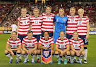 GLENDALE, AZ - DECEMBER 01: (Top L-R) Becky Sauerbrunn #4, Alex Morgan #13, Abby Wambach #14, Hope Solo #1, Lauren Cheney #12, Megan Rapinoe #15 (Bottom L-R) Heather Mitts #2, Amy LePeilbet #6, Shannon Boxx #7, Carli Lloyd #10 and Rachel Buehleer of USA pose for a team photo before the game against Ireland at University of Phoenix Stadium on December 1, 2012 in Glendale, Arizona. USA defeated Ireland 2-0. (Photo by Christian Petersen/Getty Images)