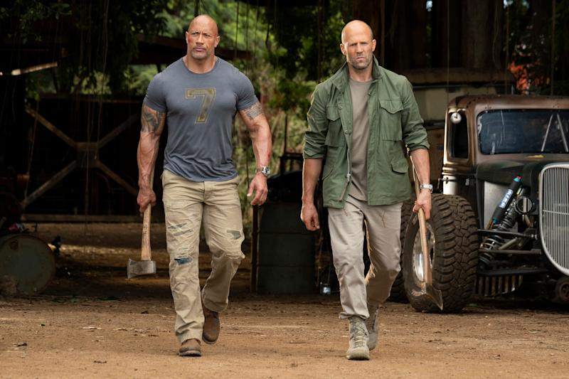 Luke Hobbs (Dwayne Johnson, left) and Deckard Shaw (Jason Statham) are frenemies on a new mission in