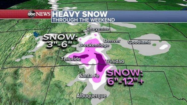 PHOTO: Snow will continue Friday in the central and southern Rockies, all the way to New Mexico, where some areas could see up to a foot of snow.   (ABC News)