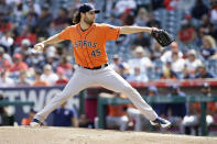 Houston Astros starting pitcher Gerrit Cole throws to a Los Angeles Angels batter during the first inning of a baseball game in Anaheim, Calif., Sunday, Sept. 29, 2019. (AP Photo/Alex Gallardo)