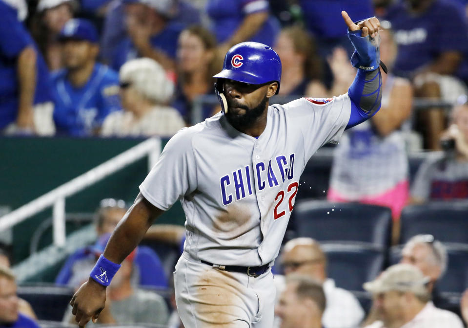 FILE – In this Aug. 6, 2018, file photo, Chicago Cubs' Jason Heyward reacts after scoring in the eighth inning of a baseball game against the Kansas City Royals at Kauffman Stadium in Kansas City, Mo. Heyward and San Francisco reliever Mark Melancon let the deadline pass from exercising opt-out provisions in their contracts. (AP Photo/Colin E. Braley, File(