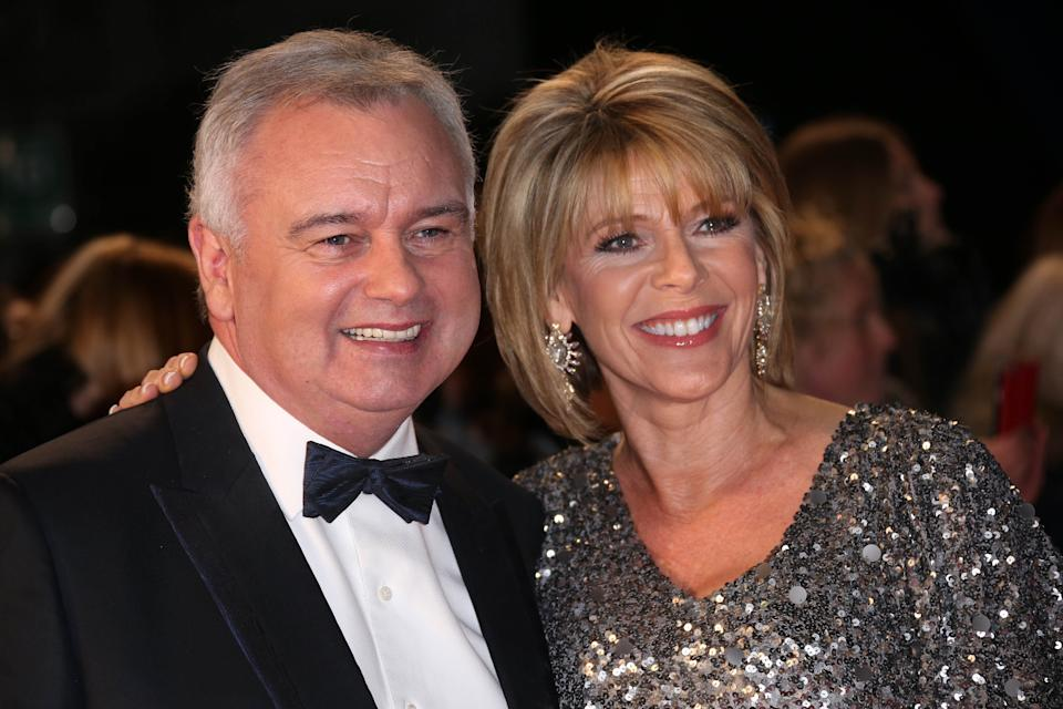 Eamonn Holmes and  Ruth Langsford pose for photographers upon arrival at the National Television Awards in London, Wednesday, Jan. 20, 2016. (Photo by Joel Ryan/Invision/AP)