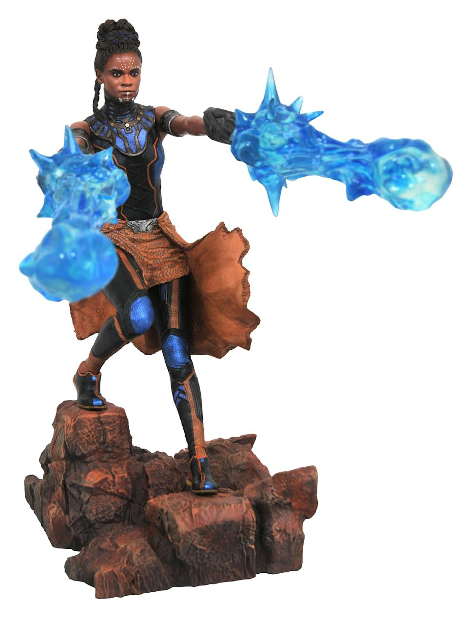 """<p>Letitia Wright's actual likeness was used for this figure, which was designed by famed conceptual artist <a rel=""""nofollow noopener"""" href=""""https://twitter.com/nelsonx"""" target=""""_blank"""" data-ylk=""""slk:Nelson Asencio"""" class=""""link rapid-noclick-resp"""">Nelson Asencio</a>, and sculpted by the award-winning <a rel=""""nofollow noopener"""" href=""""https://www.instagram.com/roccosculptor/?hl=en"""" target=""""_blank"""" data-ylk=""""slk:Rocco Tartamella"""" class=""""link rapid-noclick-resp"""">Rocco Tartamella</a>, who has also sculpted figures of Marvel favorites like Thor and Jessica Jones. $45 (Photo: Diamond Select Toys) </p>"""
