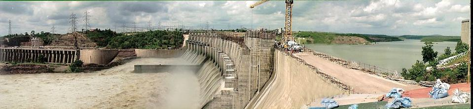 The Indirasagar Dam is a multipurpose key project of Madhya Pradesh on the Narmada River at Narmadanagar in the Khandwa district of Madhya Pradesh in India. The Project envisages construction of a 92 m high and 653 m long concrete gravity dam. It provides Irrigation in 1,230 square kilometres of land with annual production of 2700 million units in the districts of Khandwa and Khargone in Madhya Pradesh and power generation of 1000 MW installed capacity (8x125). The reservoir of 12,200,000,000 m3 (9,890,701 acre•ft) was created. { By Nvvchar (Own work) [CC-BY-SA-3.0 (www.creativecommons.org/licenses/by-sa/3.0) or GFDL (www.gnu.org/copyleft/fdl.html)], via Wikimedia Commons}