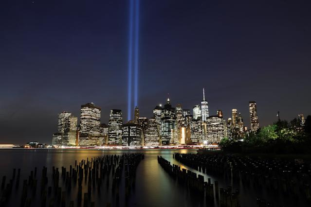 <p>The Tribute in Light rises above the New York City skyline from across the East River in Brooklyn on Sept. 11, 2017, the 16th anniversary of the 2001 terrorist attacks. (Gordon Donovan/Yahoo News) </p>