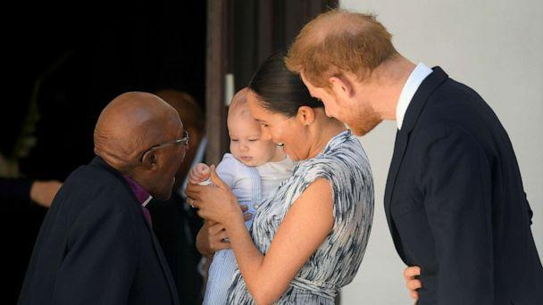 PHOTO: Britain's Prince Harry and his wife Meghan, Duchess of Sussex, holding their son Archie, meet Archbishop Desmond Tutu at the Desmond & Leah Tutu Legacy Foundation in Cape Town, South Africa, Sept. 25, 2019. (Toby Melville/Reuters)