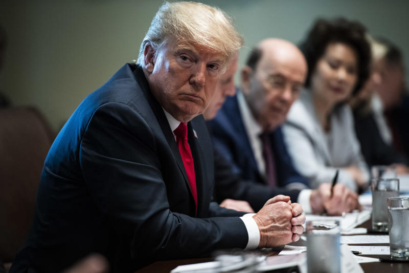President Donald Trump listens during a Cabinet meeting at the White House on Aug. 16.