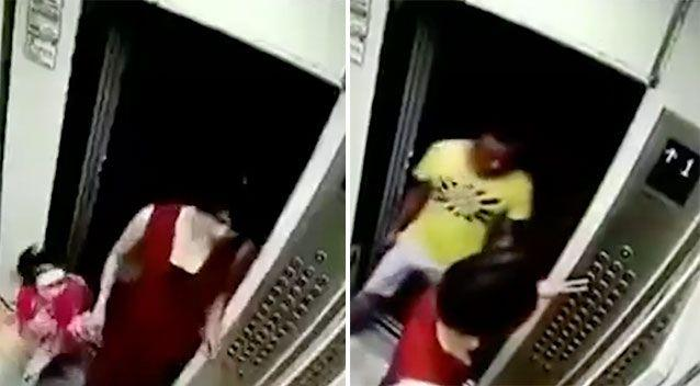 The three enter the lift. Source: LiveLeak