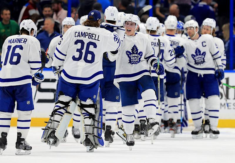 TAMPA, FLORIDA - FEBRUARY 25: Travis Dermott #23 of the Toronto Maple Leafs celebrates winning a game against the Tampa Bay Lightning at Amalie Arena on February 25, 2020 in Tampa, Florida. (Photo by Mike Ehrmann/Getty Images)