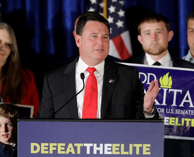 Senate candidate Todd Rokita speaks during an election night party last May in Indianapolis. (Photo: Darron Cummings/AP)