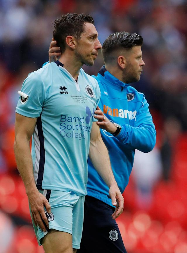 Soccer Football - National League Promotion Final - Tranmere Rovers v Boreham Wood - Wembley Stadium, London, Britain - May 12, 2018 Boreham Wood manager Luke Garrard with Tom Champion after the match Action Images/Andrew Couldridge