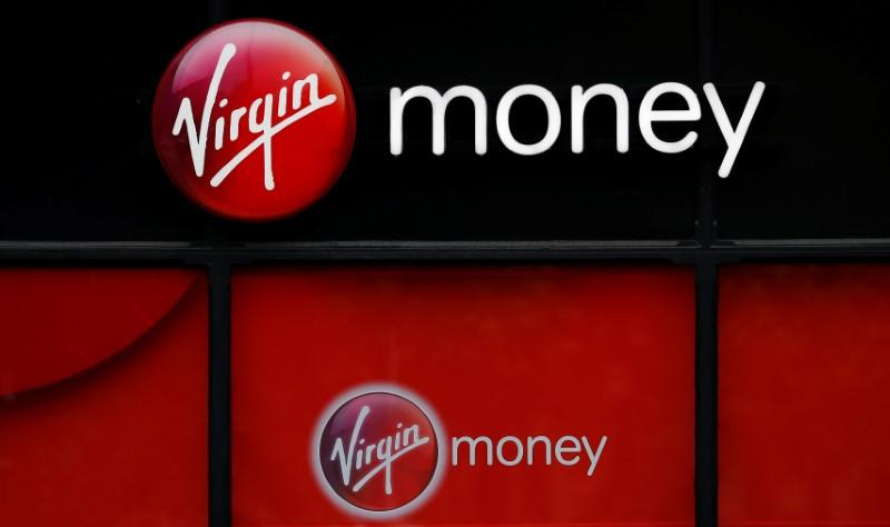 Signage is see outside a branch of Virgin Money in Manchester