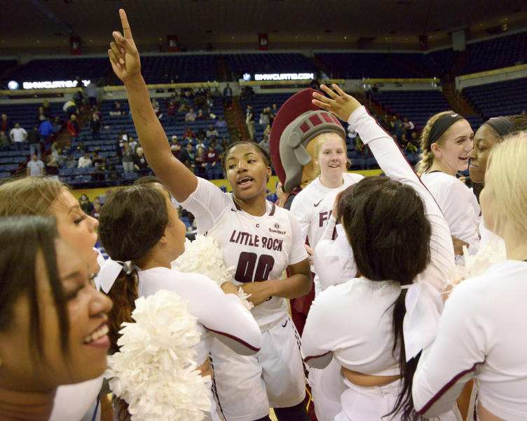 FILE - In this March 16, 2019, file photo, Little Rock players, including forward Ronjanae DeGray (00), celebrate their 57-56 victory over South Alabama after an NCAA college basketball game in the championship game of the Sun Belt Conference women's tournament in New Orleans. 13th-seeded Boise State (28-4) looks for its first-ever NCAA Tournament win on Saturday, March 23, 2019, against No. 4 seed Oregon State (24-7) at Gill Coliseum in Corvallis, the Broncos' opening step in the Albany Regional. Fifth-seeded Gonzaga (28-4) faces No. 12 Little Rock (21-10) in the other game. (AP Photo/Matthew Hinton, File)