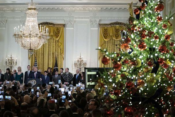 PHOTO: President Donald Trump speaks during a Hanukkah reception at the White House in Washington, D.C., Dec. 11, 2019. (Alex Edelman/Bloomberg via Getty Images, FILE)