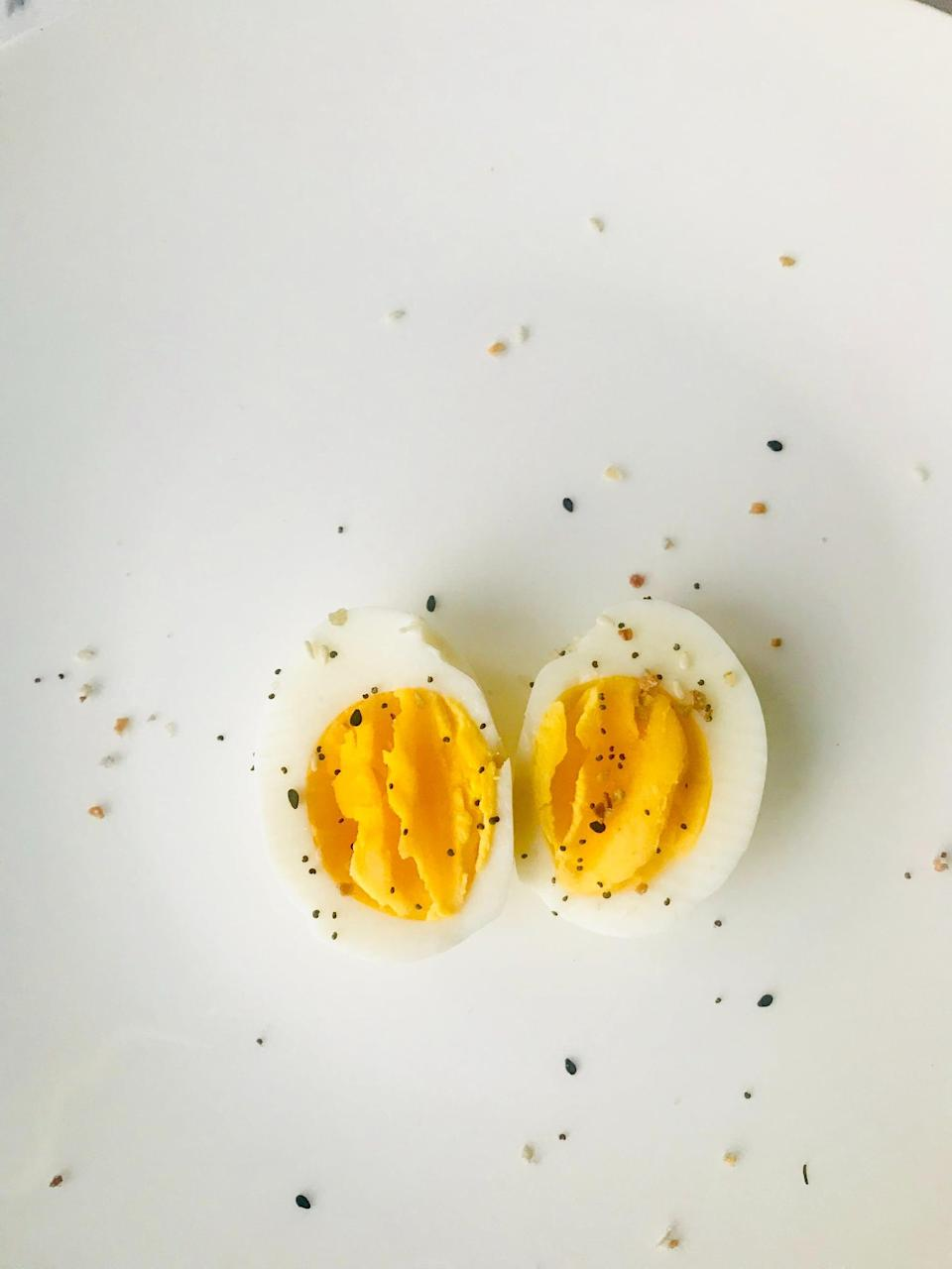 """<p>Laureen calls hard-boiled <a href=""""https://www.popsugar.com/fitness/is-it-ok-to-eat-eggs-every-day-48132041"""" class=""""link rapid-noclick-resp"""" rel=""""nofollow noopener"""" target=""""_blank"""" data-ylk=""""slk:eggs"""">eggs</a> """"a perfect protein,"""" and grocery stores like Trader Joe's have premade bags of them. They're versatile for breakfast and dinner (on toast! in salads! sprinkled with pepper!) and a much better option than dining-hall powdered eggs.</p>"""