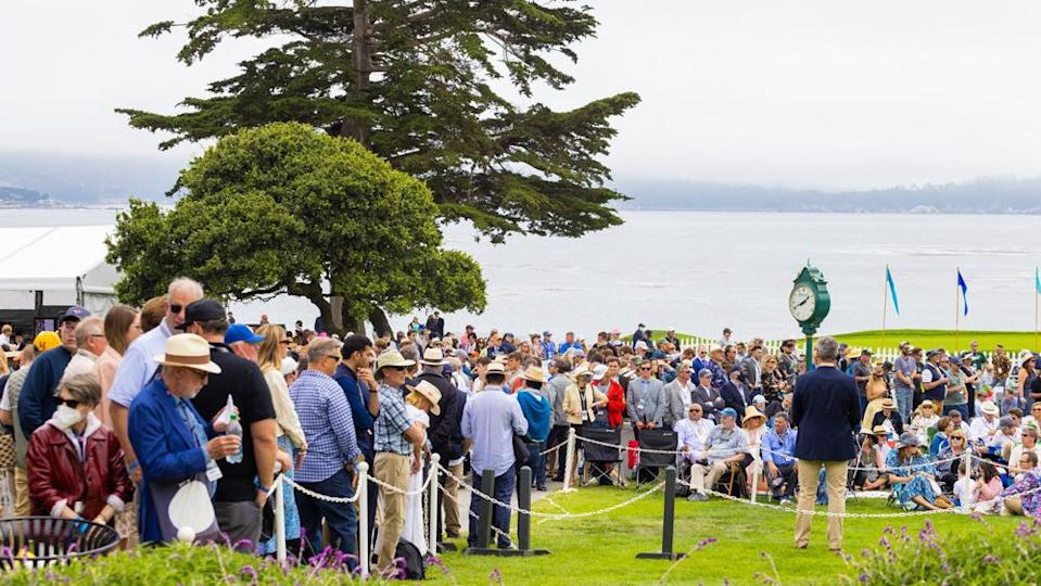 A crowd gathers to catch a glimpse of the awards ceremony at the 2021 Pebble Beach Concours d'Elegance. - Credit: Photo by Tom O'Neal, courtesy of Rolex.