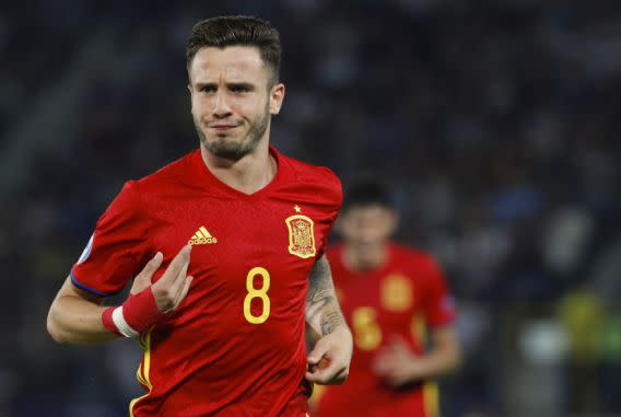 Spain's Saul Niguez celebrates after scoring during the Euro Under 21 semifinal soccer match between Italy and Spain, at the Krakow Stadium, Poland, Tuesday, June 27, 2017. Spain won 3-1 and Saul Niguez scored a hat trick. (AP Photo/Czarek Sokolowski)