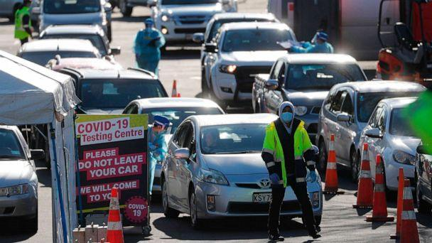 PHOTO: Cars queue at a COVID-19 test center in Auckland, Aug. 13, 2020. Health authorities in New Zealand are scrambling to trace the source of a new outbreak of the coronavirus as the nation's largest city goes back into lockdown. (Dean Purcel/AP)