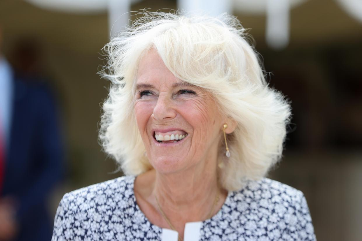 PONTYCLUN, WALES - JULY 07: Camilla, Duchess of Cornwall during a visit to Llanerch Vineyard on July 07, 2021 in Pontyclun, Wales. The Duchess has been President of Wines GB since 2011, of which the Llanerch vineyard is a member. Owner of Llanerch, geologist and entrepreneur Ryan Davies renovated the building and first opened to the public in July 2011. During the pandemic, Llanerch made a local farm shop delivery service. It launched overnight and helped the local community during the difficult time. The Duchess first tried Cariad wines when she visited Pendoylan and it was awarded the best kept village in Wales in the 90's. (Photo by Chris Jackson - WPA Pool/Getty Images)
