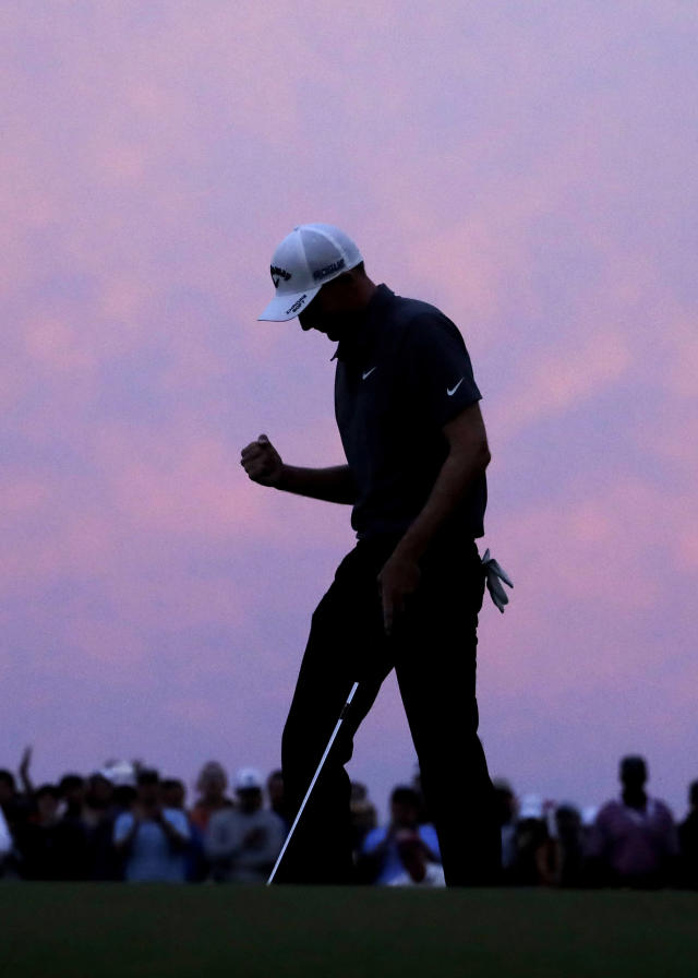 Aaron Wise pumps his fist after his par putt on the 18th green to win the AT&T Byron Nelson golf tournament in Dallas, Sunday, May 20, 2018. (AP Photo/Eric Gay)