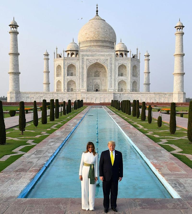 From left: First Lady Melania Trump and President Donald Trump at the Taj Mahal | MANDEL NGAN/AFP/Getty