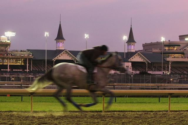 LOUISVILLE, KY - NOVEMBER 03: A horse gallops on the track during morning workouts for the upcoming Breeders' Cup World Championships at Churchill Downs on November 3, 2011 in Louisville, Kentucky. (Photo by Rob Carr/Getty Images)