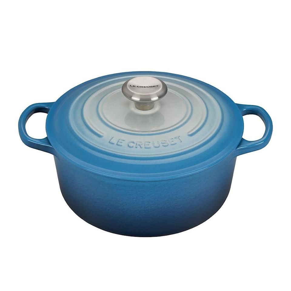 "<p>In March, I bought a <a href=""https://www.lecreuset.com/round-dutch-oven/LS2501.html"" rel=""nofollow noopener"" target=""_blank"" data-ylk=""slk:Dutch oven"" class=""link rapid-noclick-resp"">Dutch oven</a> because — and this is a direct quote I told my sister before purchasing — ""Making bread will be a fun way to pass the time in the next few weeks inside."" </p> <p>Anyway, I decided to make my own bread. BREAD! Like a peasant woman from the 1500s whose husband was always off working on the farm. In reality, I have no husband and therefore continue to consume the bread mostly on my own. </p> <p>This is my favorite, so-easy-even-I-could-do-it recipe from <a href=""https://www.girlversusdough.com/no-knead-dutch-oven-bread/"" rel=""nofollow noopener"" target=""_blank"" data-ylk=""slk:Girl Versus Dough"" class=""link rapid-noclick-resp"">Girl Versus Dough</a>. No sourdough starter or waiting for it to rise forever or whatever lies your over-achieving friends told you (sorry, guys, I love you but it's all too hard). </p>"