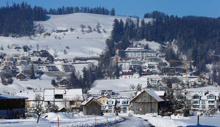 Residential houses are seen during sunny winter weather on a mountainside in the town of Unteraegeri, Switzerland February 5, 2019. REUTERS/Arnd Wiegmann