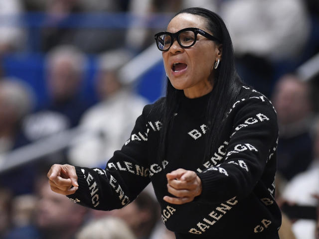 South Carolina head coach Dawn Staley reacts during the first half of an NCAA college basketball game against Connecticut, Monday, Feb. 11, 2019, in Hartford, Conn. (AP Photo/Jessica Hill)