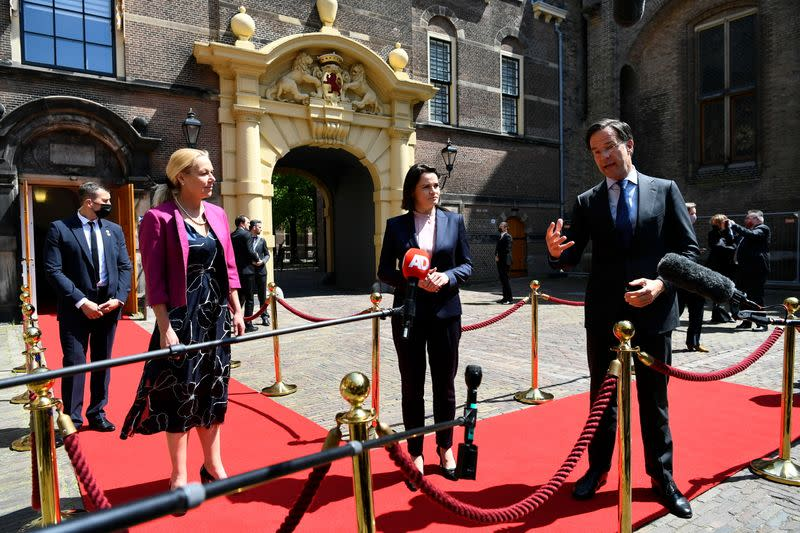 Belarusian opposition figure Sviatlana Tsikhanouskaya meets Dutch Prime Minister Mark Rutte and Foreign Affairs Minister Sigrid Kaag in The Hague