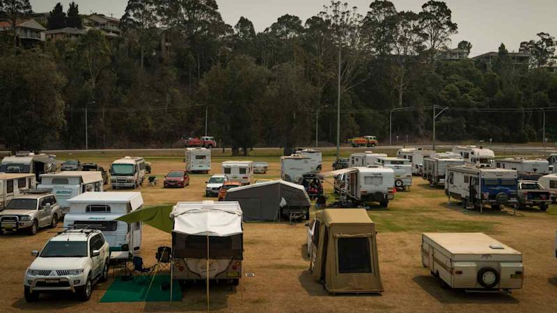 A center for wildfire evacuees in Batemans Bay, Australia, on 3 January 2020. Authorities urged tens of thousands of people, mainly along Australia's southeastern coast, to evacuate before the weekend, which was expected to be one of the worst periods in the country's already catastrophic fire season. Image: Matthew Abbott/NYT