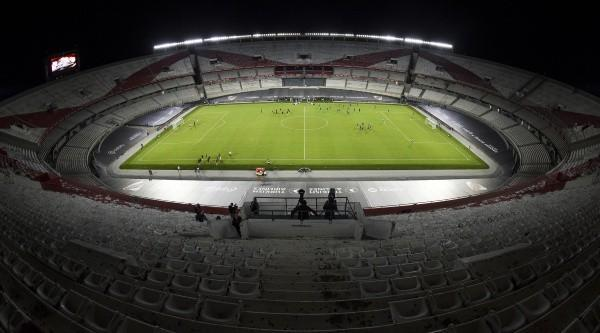 BUENOS AIRES, ARGENTINA - FEBRUARY 20: General view of Estadio Monumental Antonio Vespucio Liberti before a match between River Plate and Rosario Central as part of Copa De La Liga Profesional 2021 at Estadio Monumental Antonio Vespucio Liberti on February 20, 2021 in Buenos Aires, Argentina. The Monumental stadium reopens today after six months of restoration works. (Photo by Marcelo Endelli/Getty Images)-Not Released (NR)