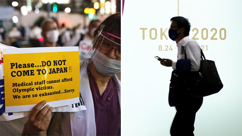 A Tokyo Olympic official has claimed it will be impossible to stop athletes arriving with Covid-19, which the public (pictured right stock photo) has expressed concern about, but strict screening measures are in place for athletes. (Getty Images)