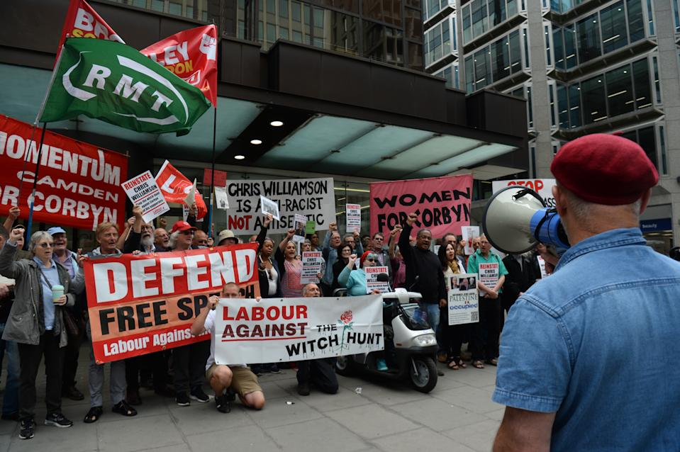 Protesters outside the Labour Party head office in London as the NEC meets to review MP Chris Williamson's suspension.