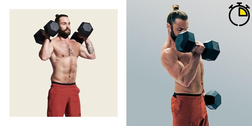 <p><strong>You'll need: 2 x dumbbells, floor space</strong></p><p>Here, you'll go all out for 15 minutes. Just don't drop the dumbbells in this tough home workout. As simple as it may seem, this intense triplet will hit everything you can't see standing in front of the mirror. Keep the weights up as much as possible, and go all out to maintain your momentum. Repeat this circuit as many times as possible in 15 minutes. Keep your form in check, but attempt to beat your score of total reps on subsequent attempts by cutting your rest times. Go all in.</p><p><strong>Hang Clean: 5 Reps</strong></p><p>Holding a pair of dumbbells at your sides, hinge at the hips to lower them to your knees. Stand back up with a slight jump, using the momentum to pull the dumbbells on to your shoulders. Stand up straight, then lower under control to your sides and repeat.</p><p><strong>Bent-Over Row: 10 Reps</strong></p><p>After your last clean, hinge at the hips until your chest is parallel to the floor, dumbbells hanging at your shins. Maintaining a flat back, row both dumbbells towards your torso, squeeze your shoulder blades together and lower under control to the start.</p><p><strong>Dumbbell Deadlift: 15 Reps</strong></p><p>With your dumbbells on the floor just outside your feet, hinge down and grip them with a flat back and neutral spine. Engage your lats and stand upright, squeezing your glutes at the top. Your arms should be hanging straight throughout this movement.</p>