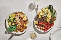 """To make this endlessly riffable salad, pair whatever produce you've got with 7-minute eggs, a mustardy dressing you can make ahead, and almost any protein: leftover steak or salmon, rotisserie chicken, or beans, to name a few. <a href=""""https://www.epicurious.com/recipes/food/views/any-way-nicoise-salad?mbid=synd_yahoo_rss"""" rel=""""nofollow noopener"""" target=""""_blank"""" data-ylk=""""slk:See recipe."""" class=""""link rapid-noclick-resp"""">See recipe.</a>"""