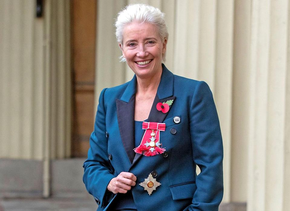 Emma Thompson displays her honors. (Photo: Getty Images)