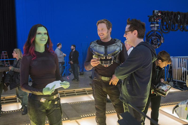 Zoe Saldana, Chris Pratt and James Gunn on the set of <i>Guardians of the Galaxy Vol. 2</i>. (Disney)