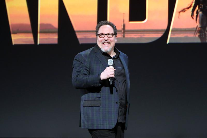 Pictured: Jon Favreau speaks to launch The Mandalorian which will air on Disney+ in Australia. (Photo by Jesse Grant/Getty Images for Disney)
