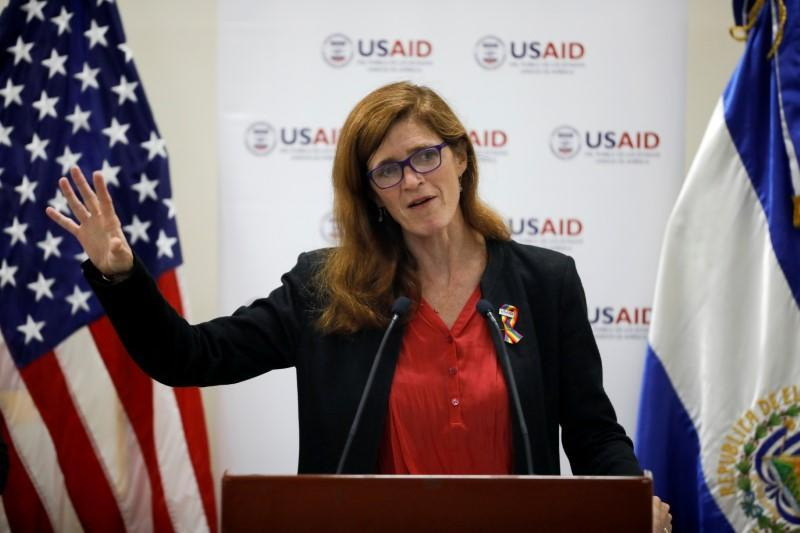 FILE PHOTO: Samanta Power, administrator of the United States Agency for International Development, delivers a speech in San Salvador, El Salvador