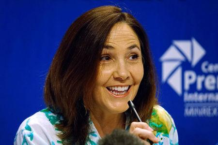 Mariela Castro, a lawmaker and director of the Cuban National Centre for Sex Education (CENESEX), National Assembly member and daughter of Cuba's President Raul Castro, speaks during a news conference in Havana