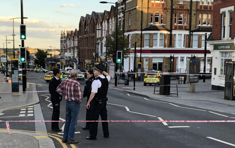 A police crime scene in Sydenham Road, south-east London, after a man in his 20s was found with gunshot wounds and died at the scene on Sunday afternoon.