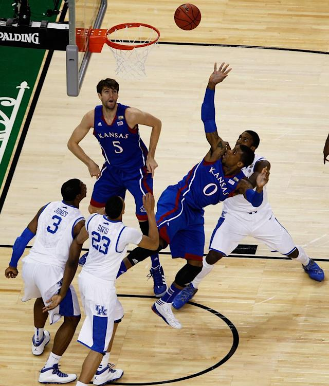 Thomas Robinson #0 of the Kansas Jayhawks puts up a shot againt the Kentucky Wildcats in the National Championship Game of the 2012 NCAA Division I Men's Basketball Tournament at the Mercedes-Benz Superdome on April 2, 2012 in New Orleans, Louisiana. (Photo by Chris Graythen/Getty Images)