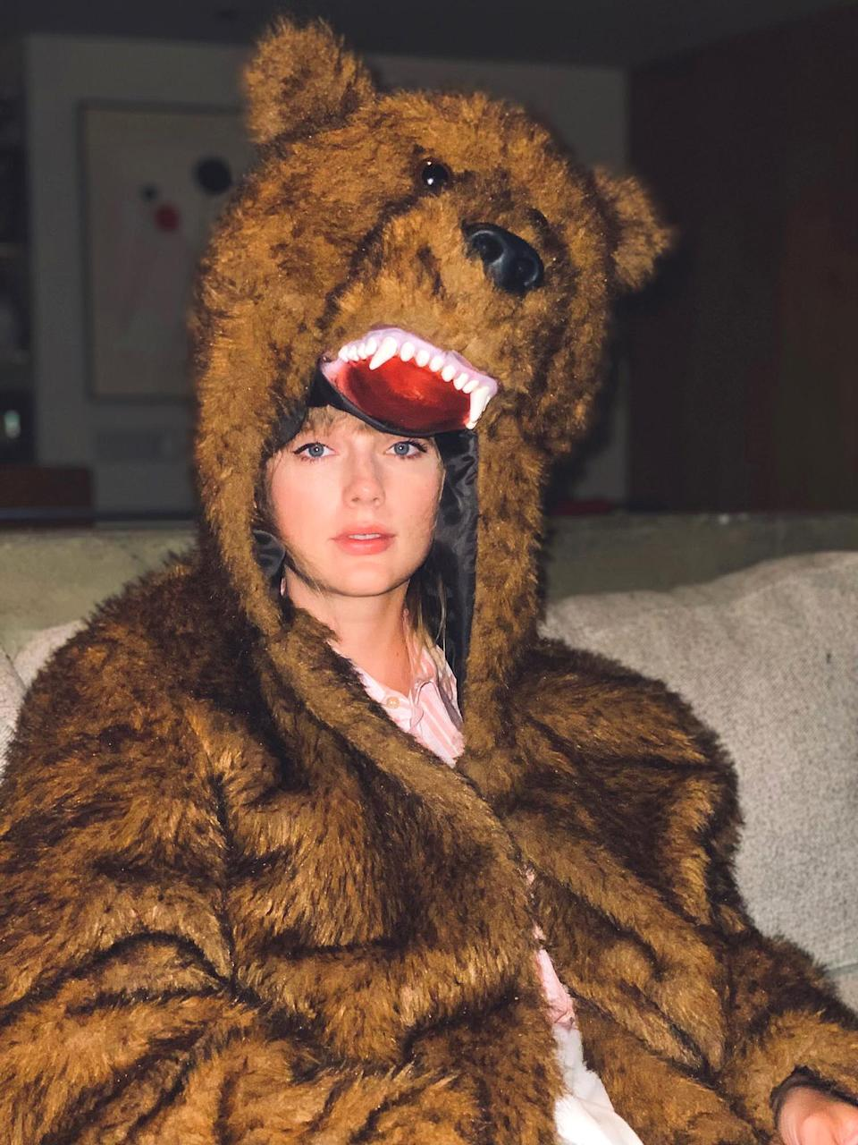 """<p>The singer sent out a short but relatable statement on Twitter, along with a photo of herself wearing a bear costume, writing, """"bye 2020, it's been weird.""""</p>"""