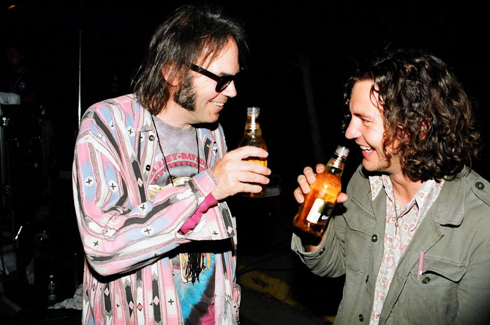 <p>Neil Young and Eddie Vedder of Pearl Jam attend the 1993 MTV Video Music Awards in Los Angeles.</p>