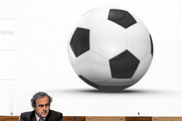 UEFA president Michel Platini attends the 64th FIFA congress on June 11, 2014 in Sao Paulo, on the eve of the opening match of the 2014 FIFA World Cup (AFP Photo/Fabrice Coffrini)